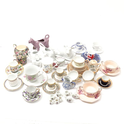 Hand-Painted Japanese and Other Porcelain Demitasse Cups, Saucers and Serveware