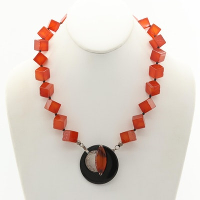 Sterling Silver Carnelian, Agate and Onyx Pendant Necklace