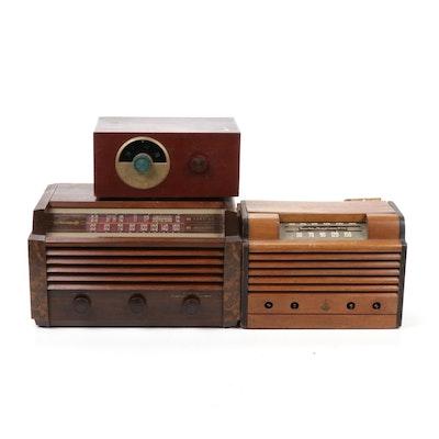 Emerson, RCA Victor and Motorola Wooden Framed Radios, Mid-Century