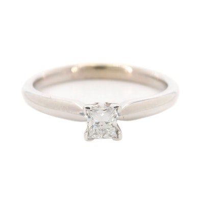 14K White Gold Diamond Solitaire Ring