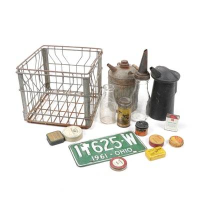 Metal Milk Crate, Glass and Tin Motor Oil Bottles and License Plate