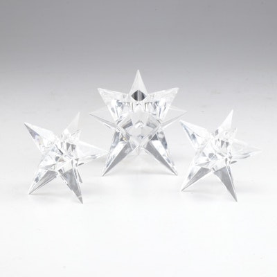 Rosenthal Crystal Star Candle Holders, Mid to Late 20th Century