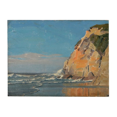 Edmond J. Fitzgerald Landscape Oil Painting of Coastal Scene