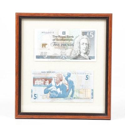 Jack Nicklaus 2005 Bank of Scotland 5 Pound Note, Framed