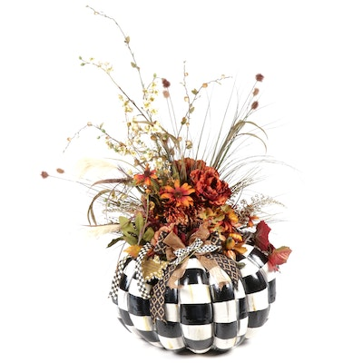 Signed Oversized Fall Floral Pumpkin in the Style of MacKenzie-Childs