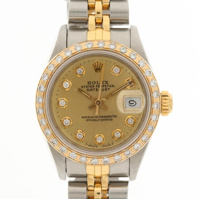 Rolex Datejust 18K Gold and Stainless Steel Watch With Diamond Bezel and Dial