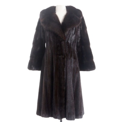 Dark Mahogany Mink Fur Coat with Wide Notched Collar by Black Jewel, Vintage