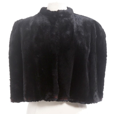 Dyed Black Sheared Beaver Fur Capelet by Miller the Furrier, Vintage