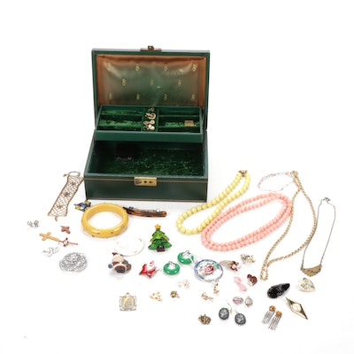 Vintage Jewelry Box and Assorted Costume Jewelry