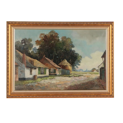 B.H. Slotman Oil Painting of Rural Landscape