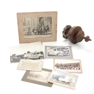 Funeral and Hearse Photographs with Wooden Hearse Finial, Antique