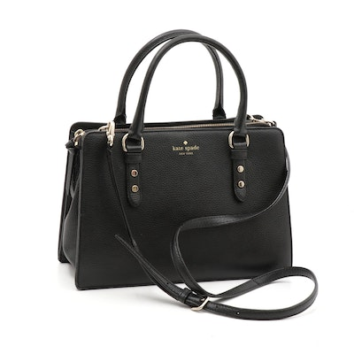 Kate Spade New York Black Pebbled Leather Convertible Crossbody Bag