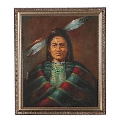 Oil Portrait of Native American Figure