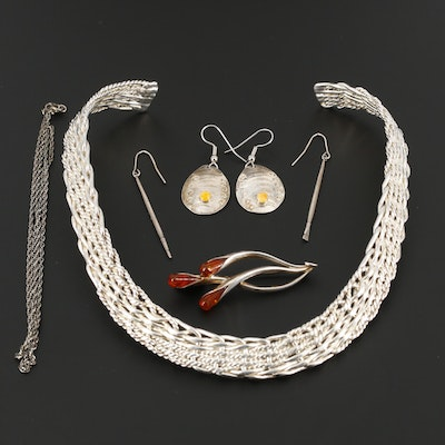 Sterling Silver Earring, Brooch, and Necklaces with Amber and Spiny Oyster