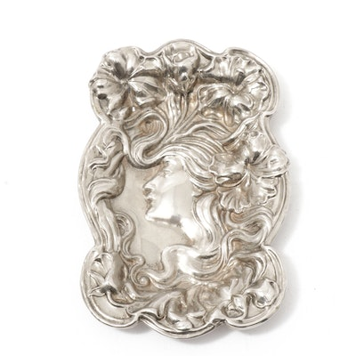 Art Nouveau Embossed Woman Silver Plate Pin Tray, Early to Mid 20th Century
