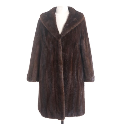 Mahogany Mink Fur Coat with Shawl Collar, Vintage