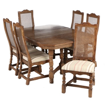 Traditional Style Distressed Oak Dining Table with Chairs