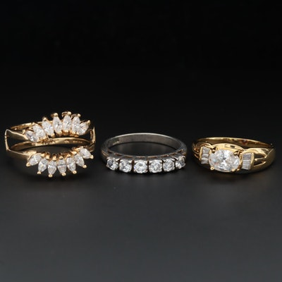 Sterling Silver Cubic Zirconia Ring Enhancer and Rings