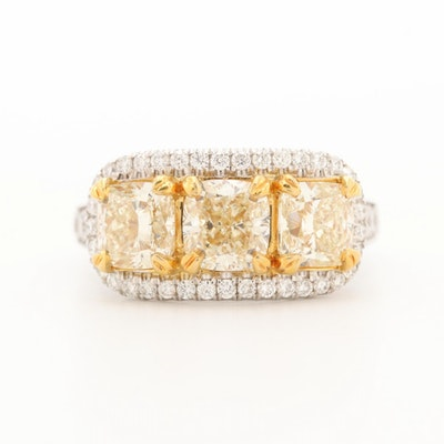 18K White Gold 3.93 CTW Diamond Ring with Yellow Gold Accents