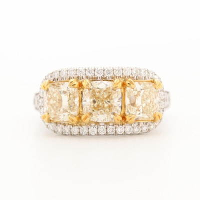 18K White Gold 3.93 CTW Diamond Ring with 18K Yellow Gold Accents