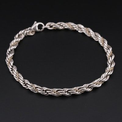 Tiffany & Co. Sterling Silver and 18K Yellow Gold Rope Bracelet