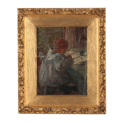 """Marie Lusk Oil Painting """"Little Boy Drawing"""", late 19th Century"""