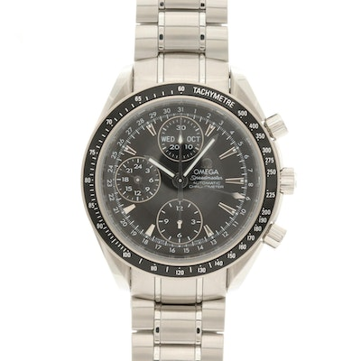 Omega Speedmaster Stainless Steel Automatic Chronometer Triple Date Wristwatch