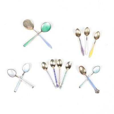 Norwegian and Danish Gold Wash on Sterling Silver Enameled Spoons
