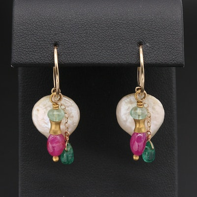 14K Yellow Gold Cultured Pearl, Emerald, and Ruby Dangle Earrings