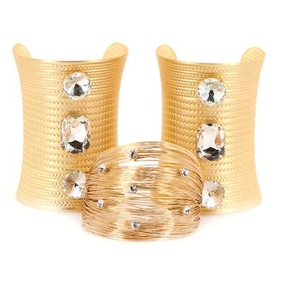 Rhinestone Cuff Bracer and Wire Cuff Bracelet by Pam McMahon