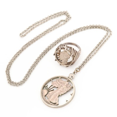 Sterling Silver Mercury Dime Ring with Walking Liberty Pendant Necklace