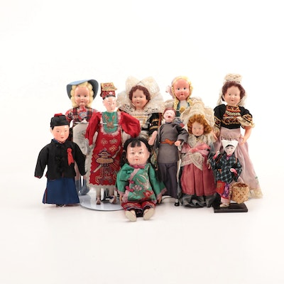 Chinese and Polish Composition and Cloth Dolls and Other Souvenir Dolls, Vintage