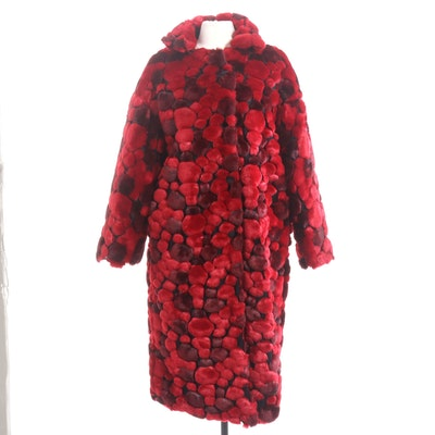 Couture Red Faux Fur Puff Pattern Coat with Quilted Satin Lining