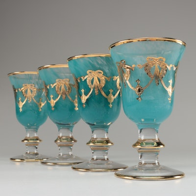 Italian Interglass Gilt Accented Mouth Blown Goblets, Late 20th Century