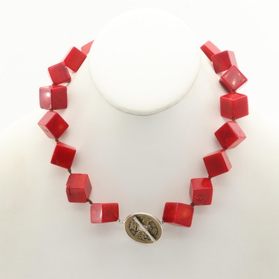 Asian Style Sterling Silver Coral Necklace with Replica Chinese Coin
