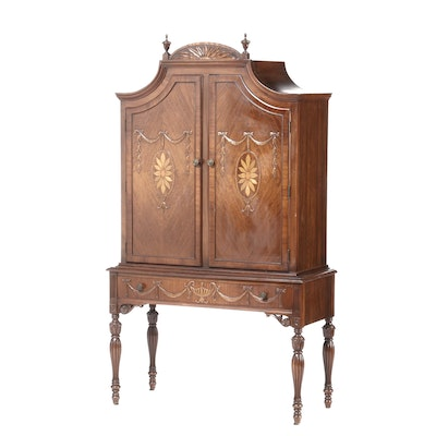 Adams Style Walnut China Cabinet with Inlaid Paterae, Early 20th Century
