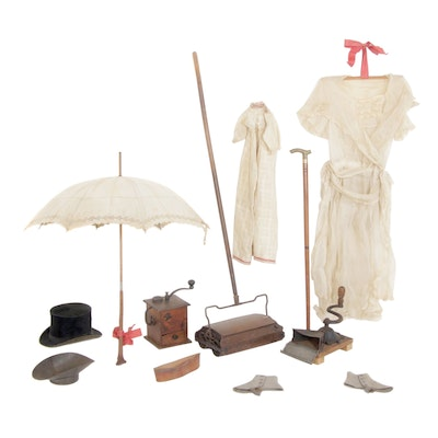 Antique Clothing, Accessories, Cane, Sweeper, Grinder, and Mercantile Decor