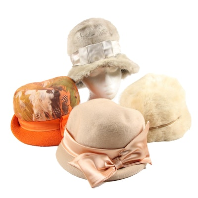 Bucket and Cloche Hats Including Saga Mink Fur with Hat Box Travel Case, Vintage
