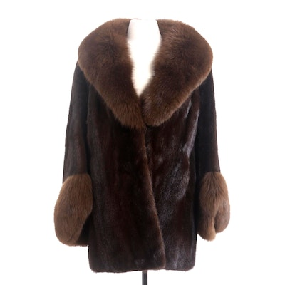 Dark Brown Mink Fur Stroller Coat with Fox Fur Trim by Rossini