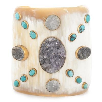 Vintage Horn, Druzy Quartz and Turquoise Cuff Bracelet