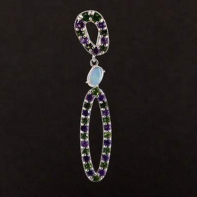 Sterling Silver Opal, Amethyst and Diopside Pendant