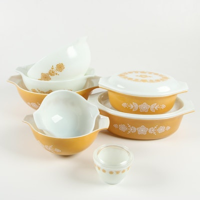 """Pyrex """"Butterfly Gold"""" Glass Casseroles and Cinderella Mixing Bowls, 1972–81"""
