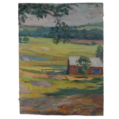 Rural Landscape Oil Painting, Early to Mid 20th Century