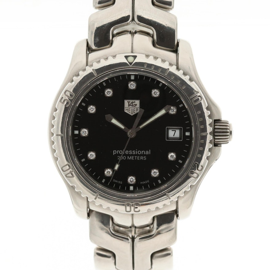 TAG Heuer Link Diamond Dial and Stainless Steel Quartz Wristwatch