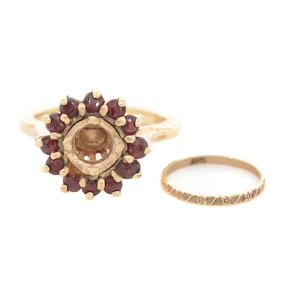 14K Gold Garnet Semi-Mount Ring with Arthritic Shank and 10K Gold Baby Ring