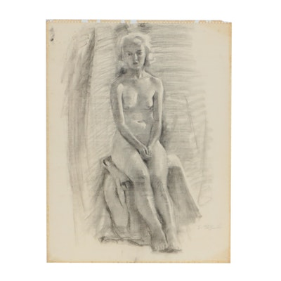 Edmond J. Fitzgerald Charcoal Drawing of Nude Female Figure
