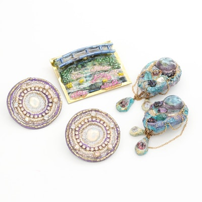 Post Modern Beaded Mosaic Assemblage Jewelry Assortment
