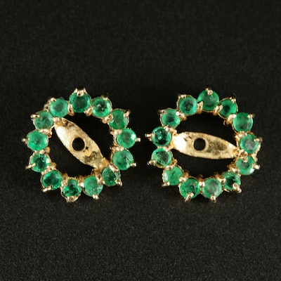 14K Yellow Gold Emerald Earring Jackets
