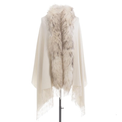 Fox Fur and Cashmere Cape in Ivory with Fringe