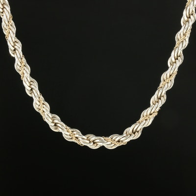 Tiffany & Co. Sterling Silver and 18K Yellow Gold Rope Necklace